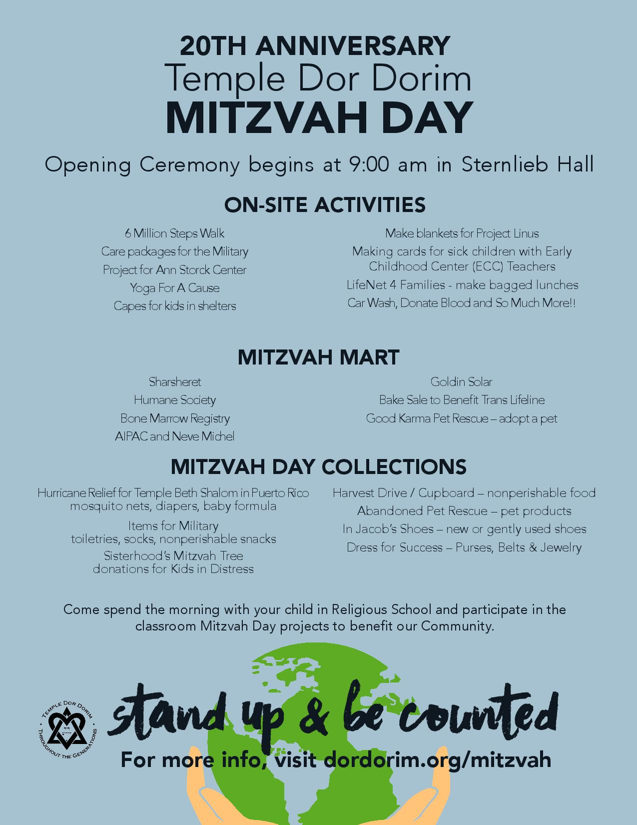 Mitzvah Day  Temple Dor Dorim